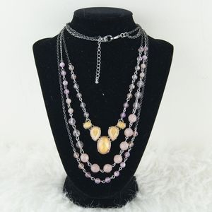 Silver & Purple Statement Necklace